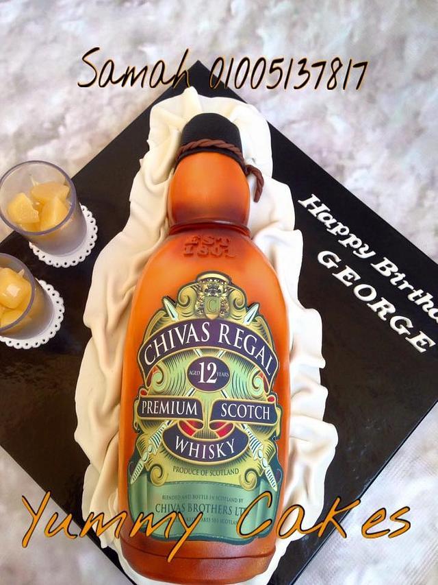 3D chivas regal bottle cake