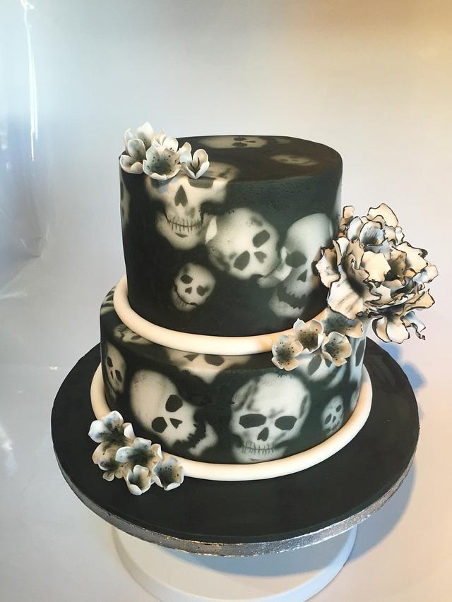 Skull and flowers wedding cake