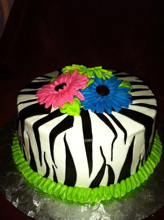 Zebra Cake with Gerbera Daisies