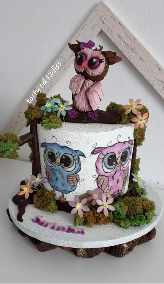 Owls bday cake