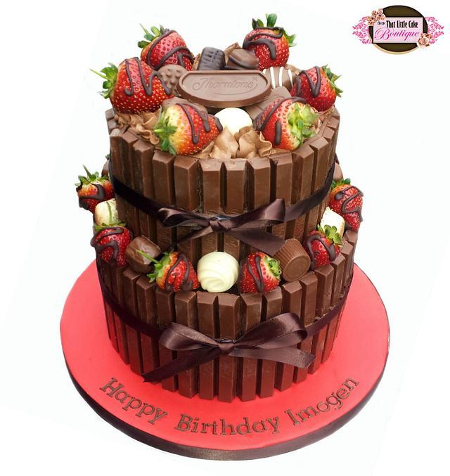 Chocolate Strawberry Kit Kat Cake