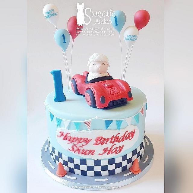 Sheep Racecar cake