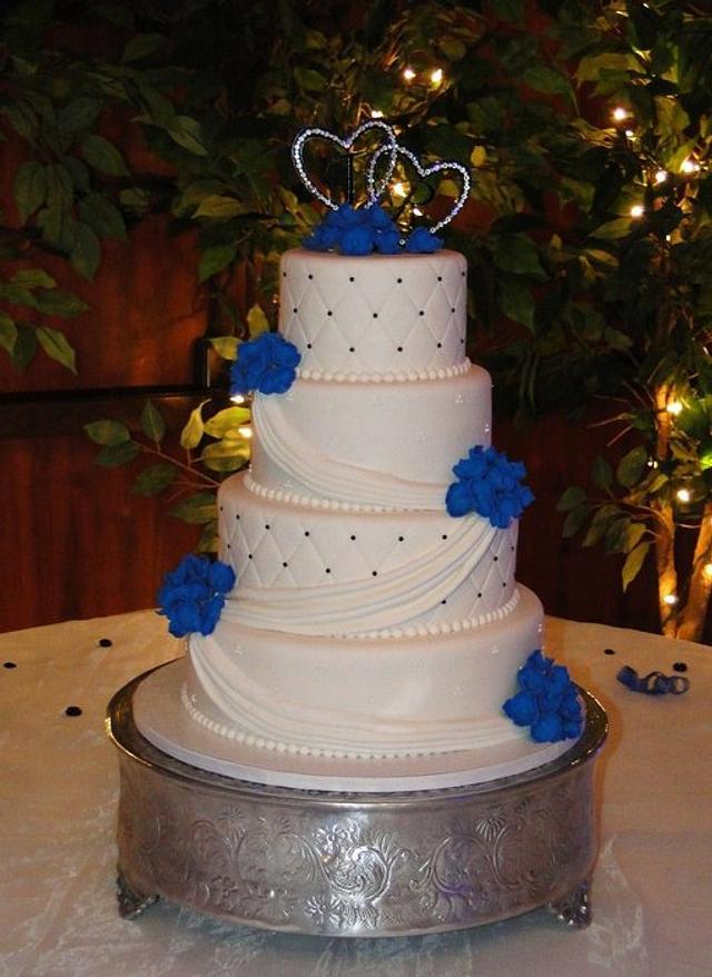 Blue Hydreangea Wedding Cake
