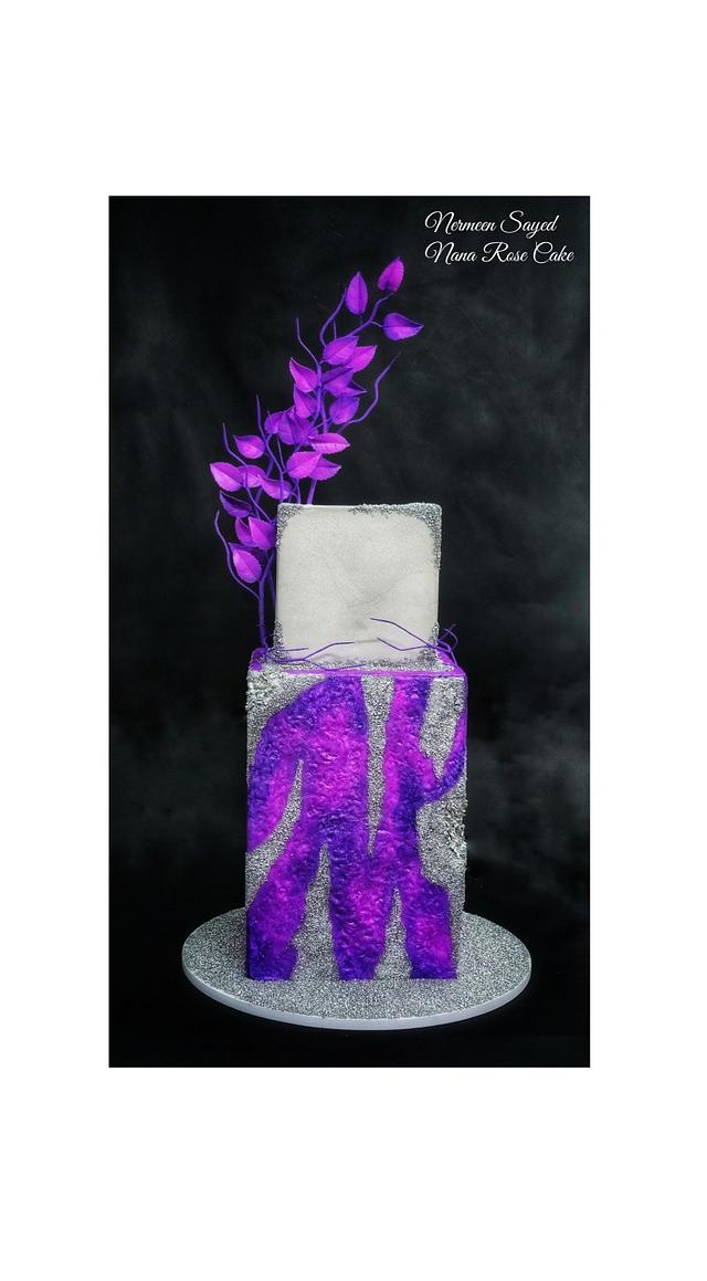 Purple and silver shimmer cake