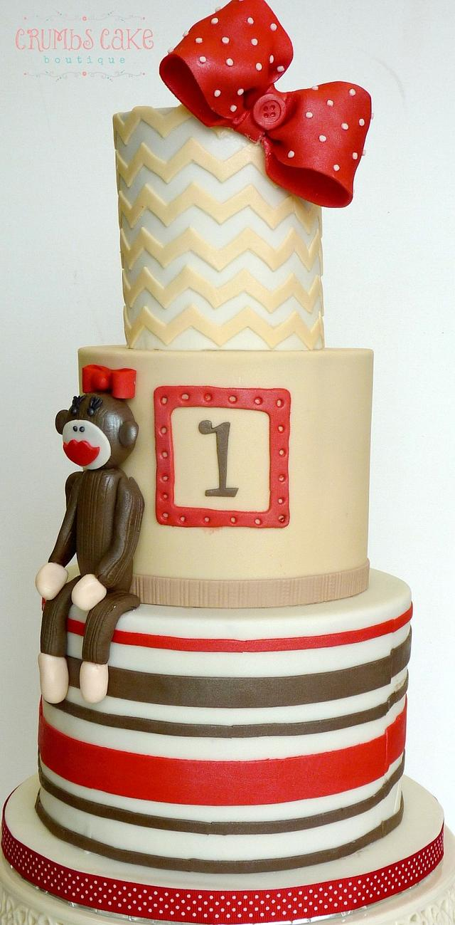 Wondrous Girlie Sock Monkey 1St Birthday Cake Cake By Crumbs Cakesdecor Funny Birthday Cards Online Barepcheapnameinfo