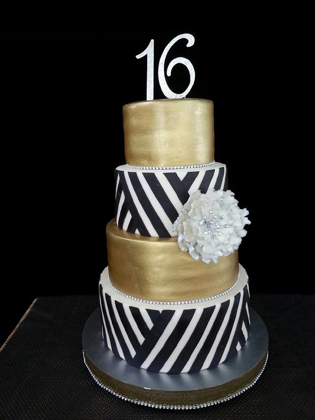 Gold Tiers with Black Bold Stripes
