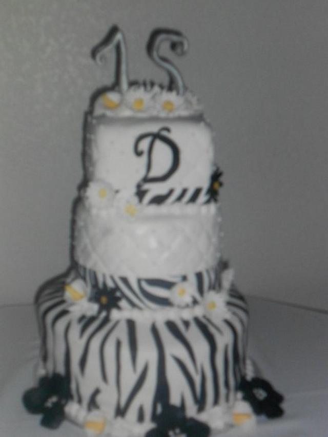 Zebra Quinceanera Cake