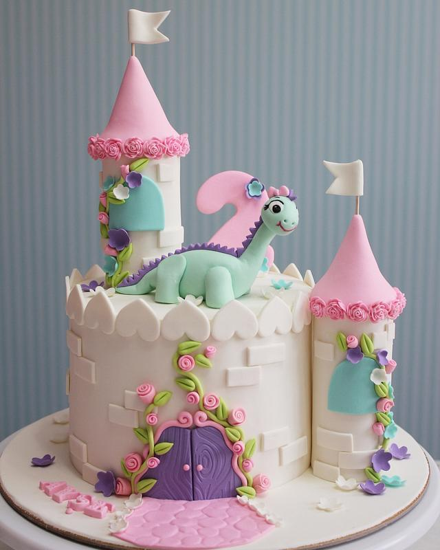 Dinosaur castle birthday cake