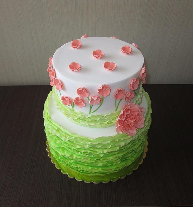 Lime ruffle cake