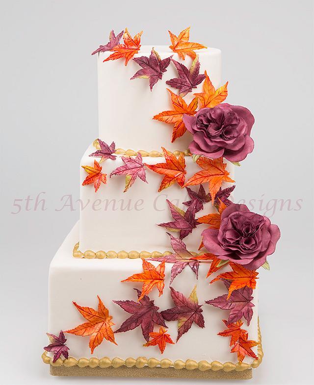 Autumn Flower Paste Maple Leaf Cake