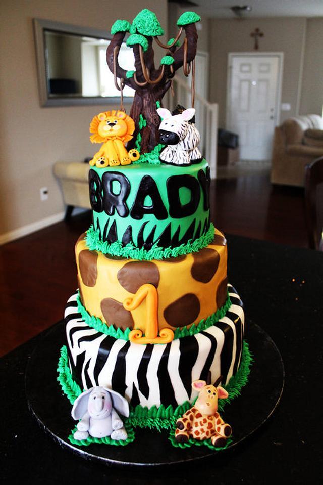 Jungle 1st Birthday Cake
