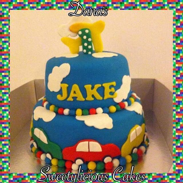 Little plain and cars cake