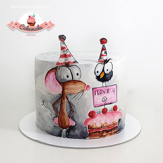 Mouse hand painted cake