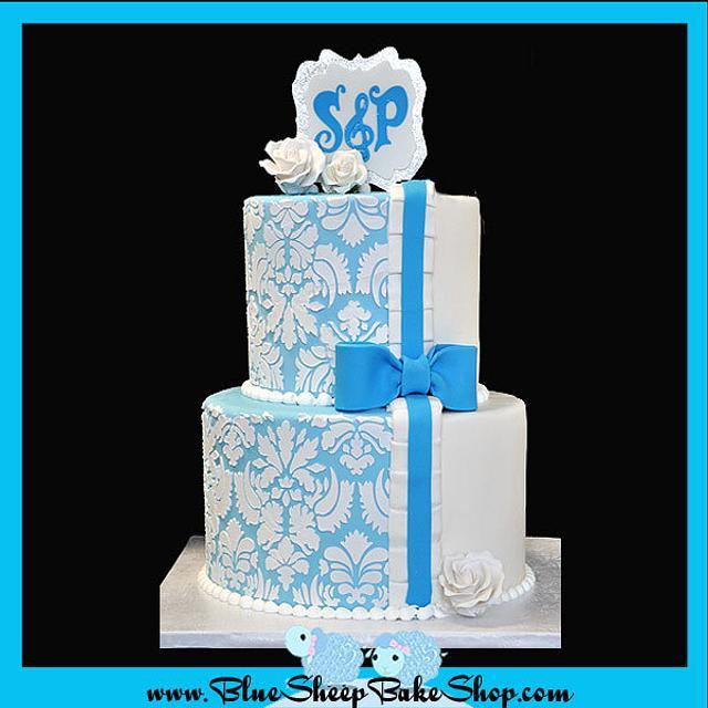 Blue and WHite Damask Engagement Cake