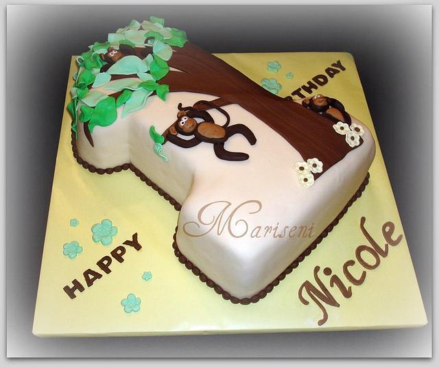 Prime Monkey Themed First Birthday Cake By Slice Of Sweet Art Cakesdecor Personalised Birthday Cards Veneteletsinfo