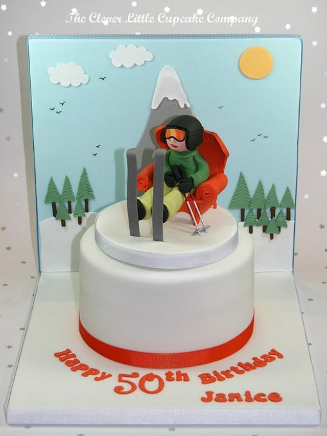 Skiiers 50th Birthday Cake