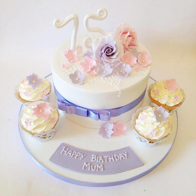 Fabulous Pretty 75Th Birthday Cake Cake By Claire Lawrence Cakesdecor Funny Birthday Cards Online Bapapcheapnameinfo