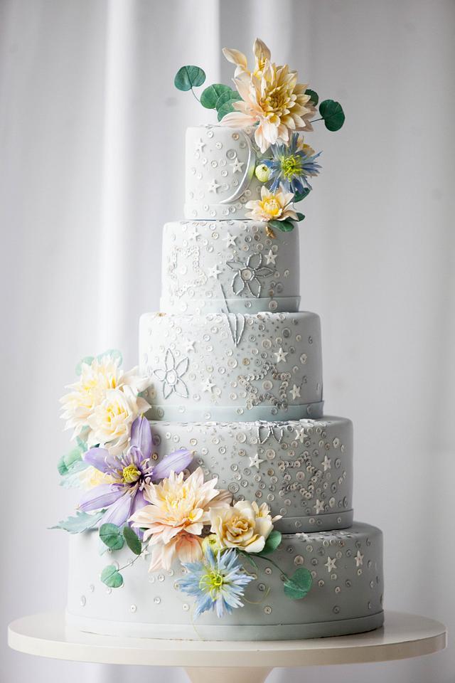 Celestial Sequin Wedding Cake I Sugar Flower Wedding Cake