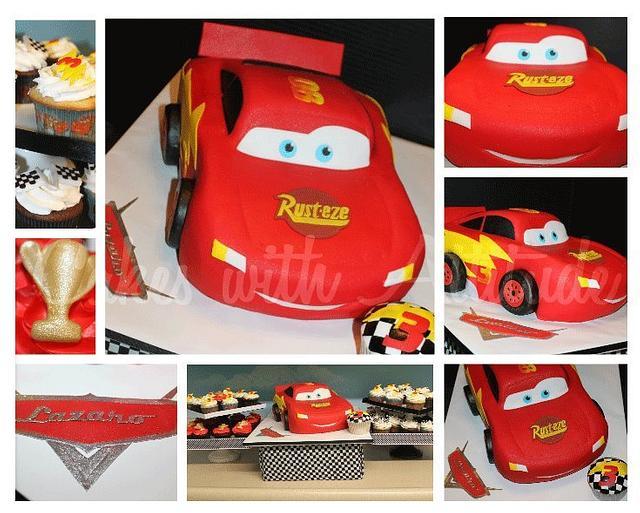 Lightning McQueen Cake-All Edible!!