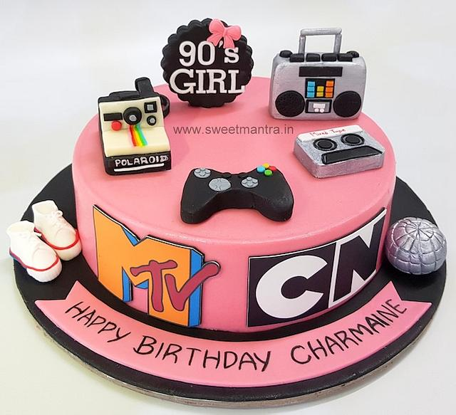 Swell Mtv 90S Vintage Theme Customized Designer Birthday Cake Cakesdecor Funny Birthday Cards Online Fluifree Goldxyz