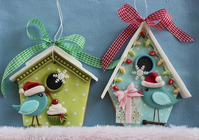 Christmas birds in love