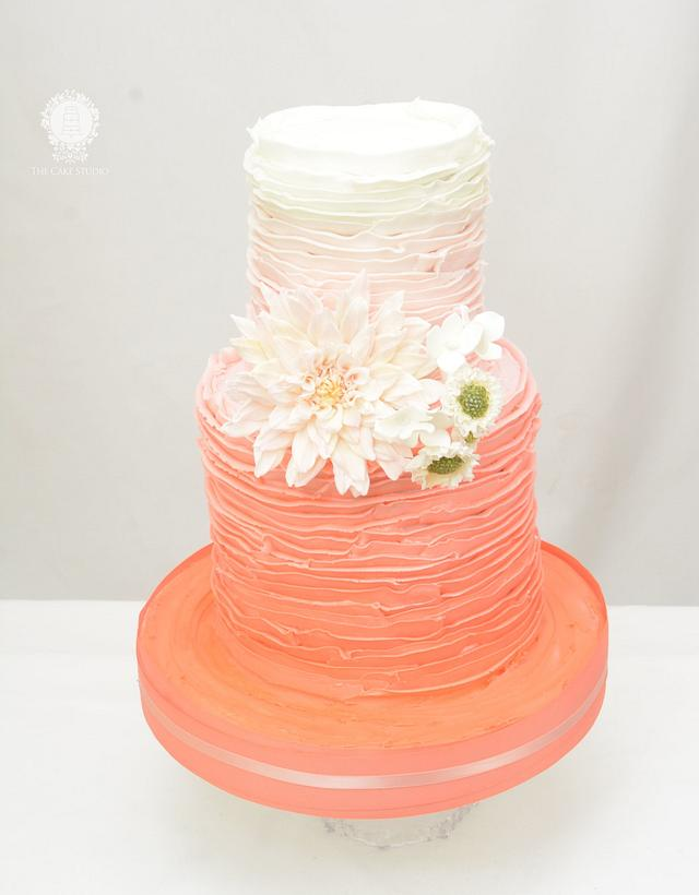 Rustic Cake in Coral with Sugar Flowers