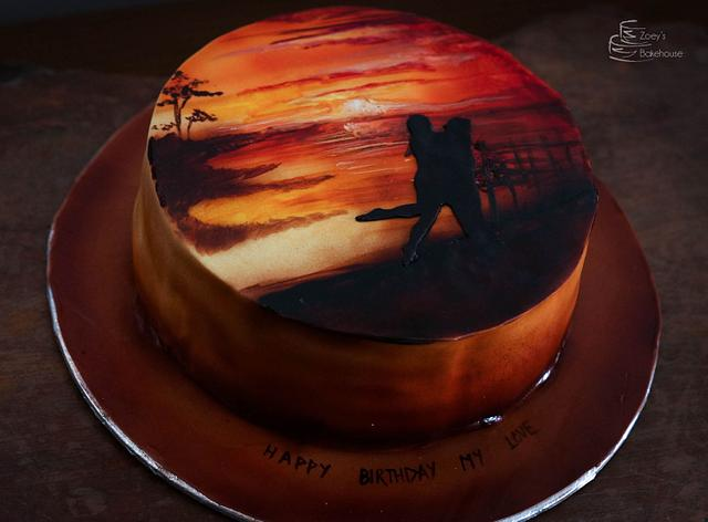 Airbrushed Landscape on cake