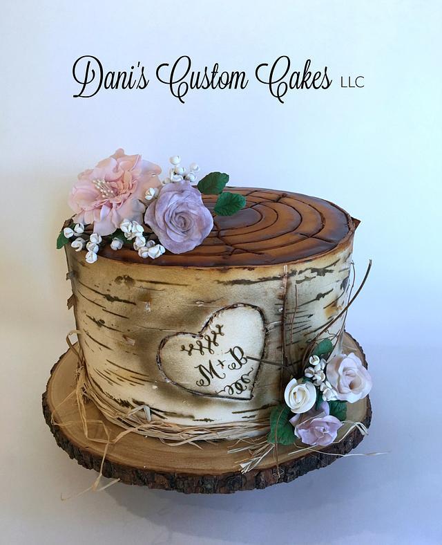 Birch Tree Engagement Cake