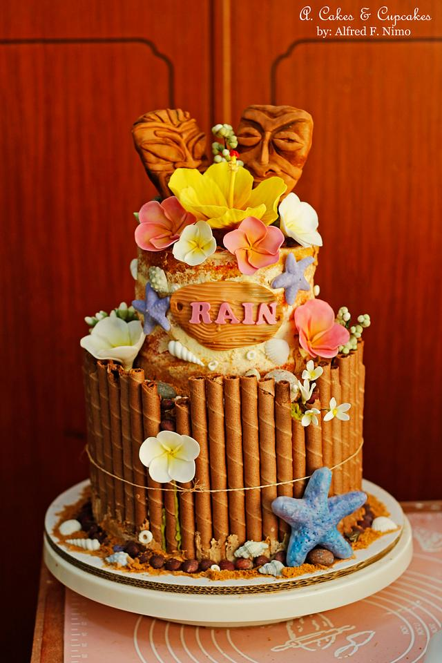 Awesome Hawaiian Luau Birthday Cake Cake By Alfred A Cakes Cakesdecor Funny Birthday Cards Online Elaedamsfinfo