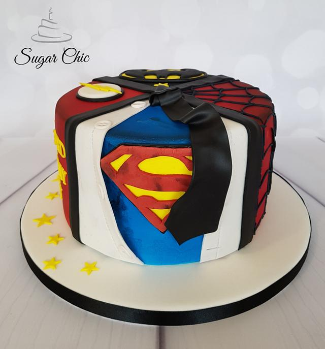 Outstanding Superheroes Birthday Cake Cake By Sugar Chic Cakesdecor Personalised Birthday Cards Veneteletsinfo
