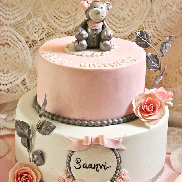 Fabulous Pink And Silver Birthday Cake By Sugar Stories Cakesdecor Funny Birthday Cards Online Amentibdeldamsfinfo