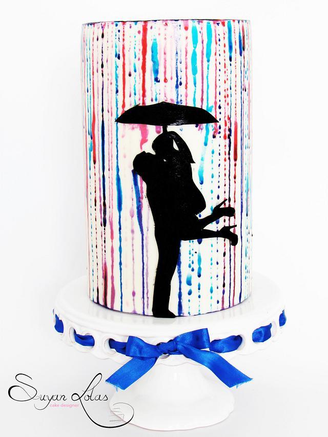Romantic silhouette cake