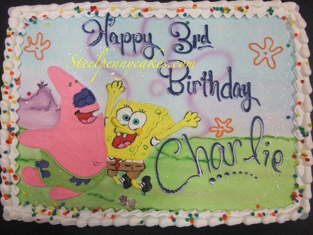 Sponge Bob buttercream drawing
