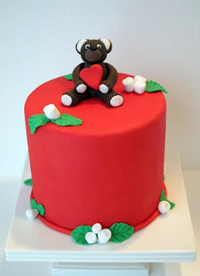 Valentine's Day Teddy Bear Cake