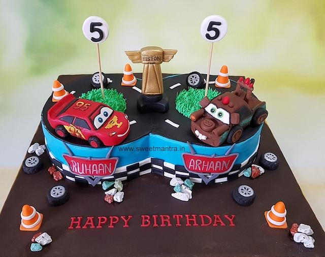 Terrific Mcqueen And Mater Theme Designer Fondant Cake With 3D Cakesdecor Funny Birthday Cards Online Kookostrdamsfinfo