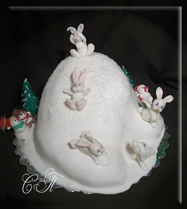 """Cake """"Rabbits on the hill"""""""