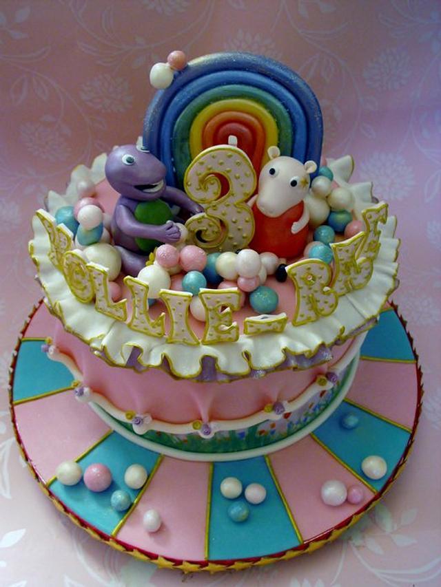 Barney and Peppa Pig birthday cake