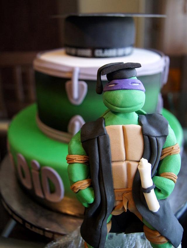 Ninja turtle graduation cake