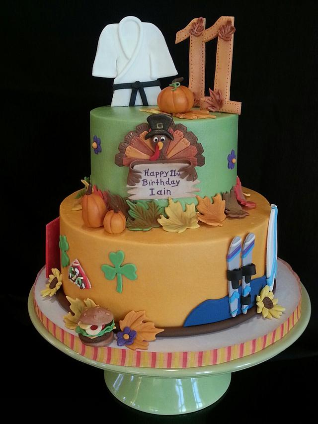 Sensational Thanksgiving Birthday Cake For Iain Cake By Jan14Grands Cakesdecor Funny Birthday Cards Online Aboleapandamsfinfo