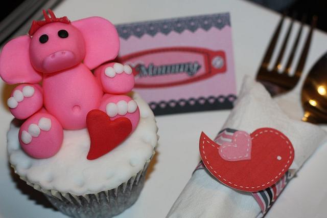 Valentine Elephant Cupcake