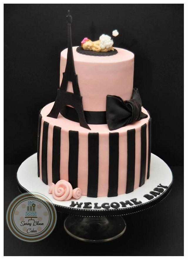 Paris themed baby shower cake