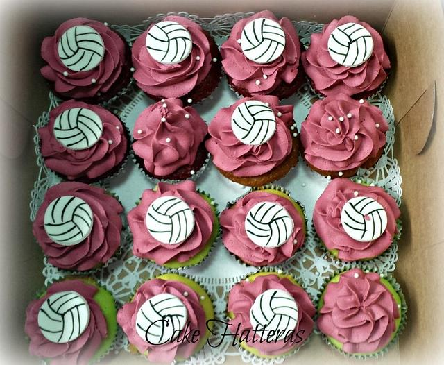 Volly Ball Cupcakes for Senior Night!