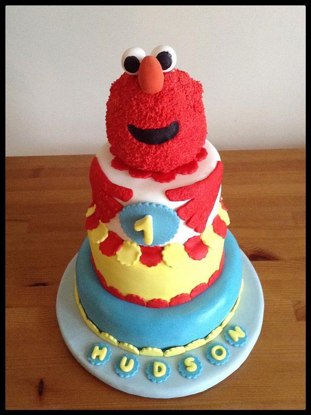 Tremendous Hudsons Elmo 1St Birthday Cake Cake By June Clarkys Cakesdecor Personalised Birthday Cards Epsylily Jamesorg