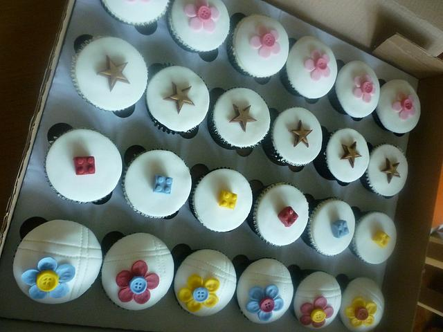 Colourful kids cake sale collection - buttons, stars and Lego!