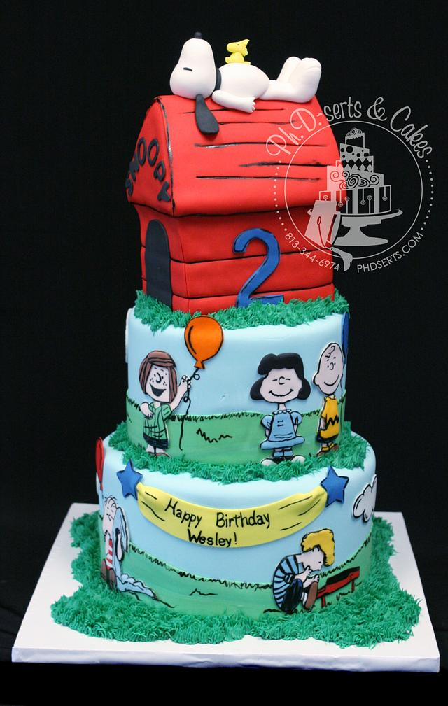 Peachy Snoopy Birthday Cake Cake By Phdserts Cakesdecor Funny Birthday Cards Online Alyptdamsfinfo