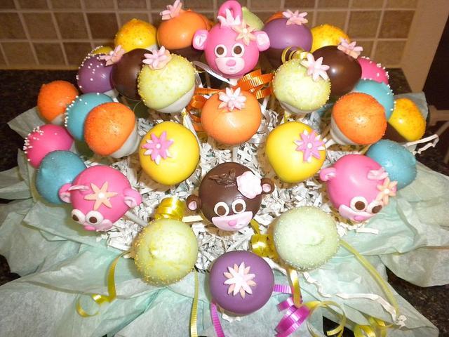 Lil monkey baby shower cake pops