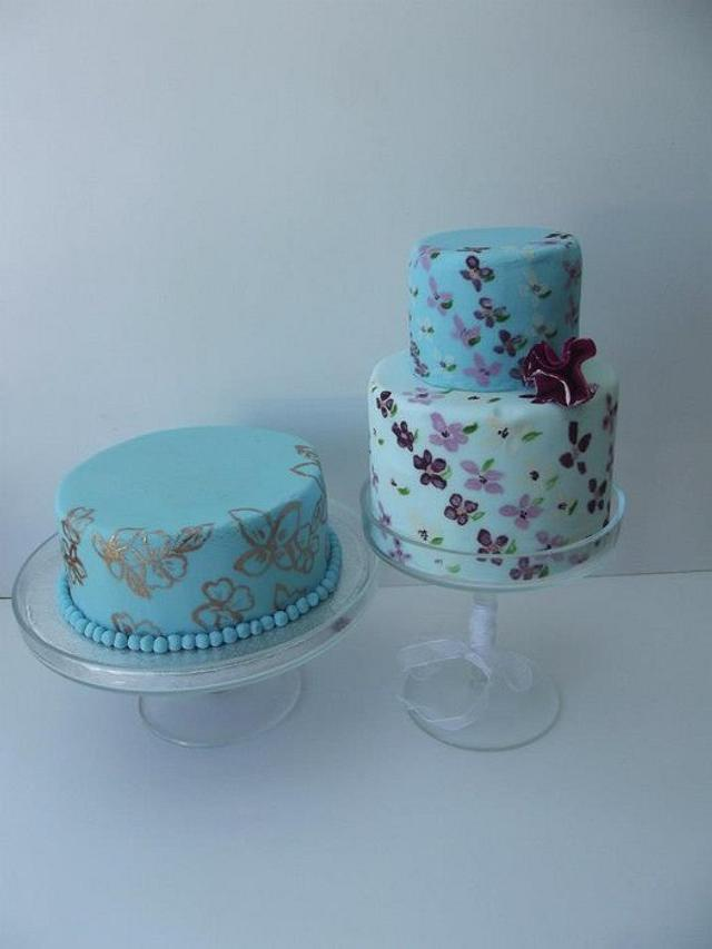 Hand painted wedding cakes.