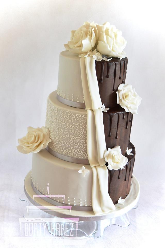 Romantic - chocolate wedding cake