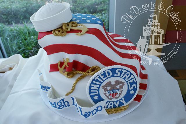 Surprising Patriotic Birthday Cake For A Naval Leutenant Cake By Cakesdecor Funny Birthday Cards Online Fluifree Goldxyz