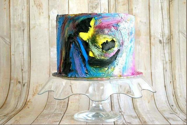 Hand painted on whippedcream cake using whipped cream